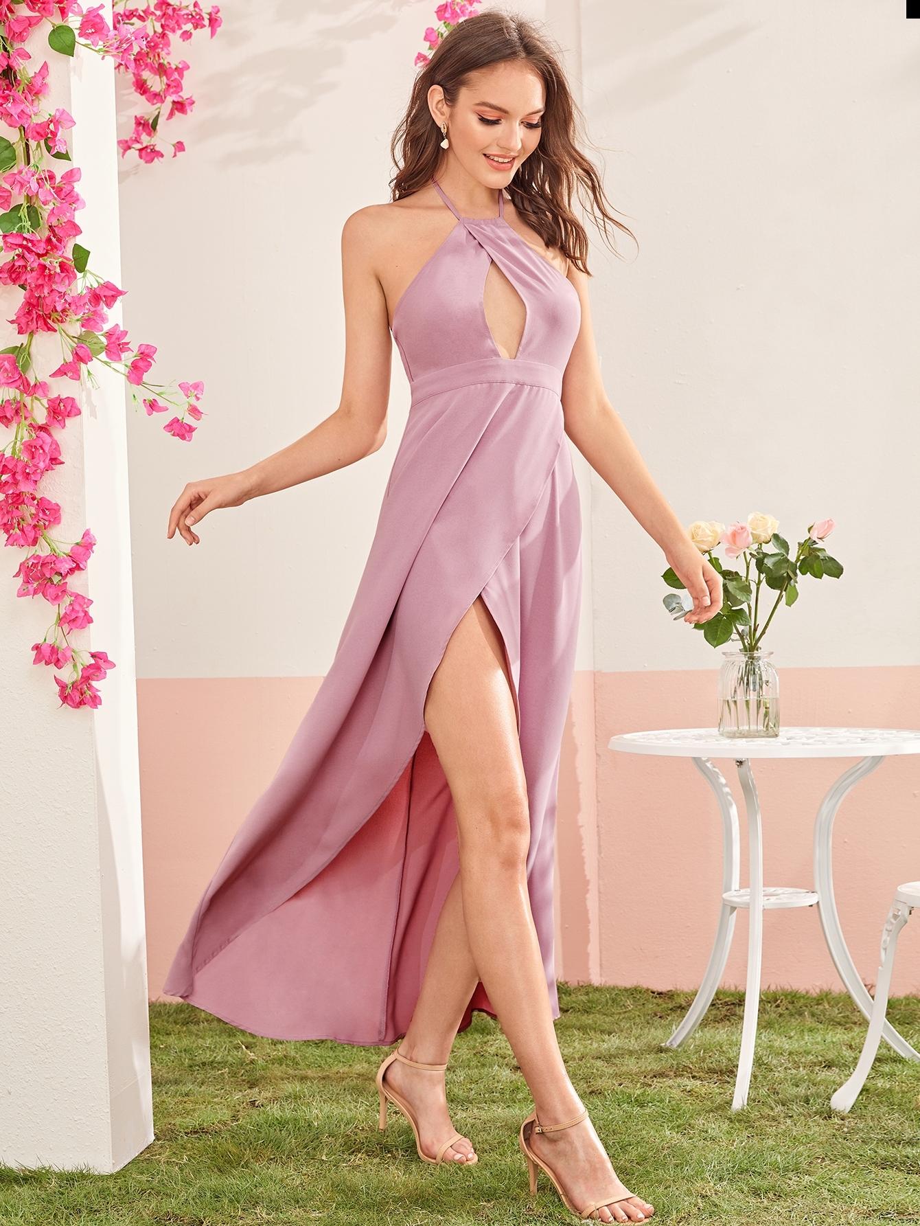Фото - Асимметричное платье на запах с разрезом от SheIn цвет розовые