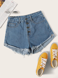 Button Fly Cuffed Denim Shorts