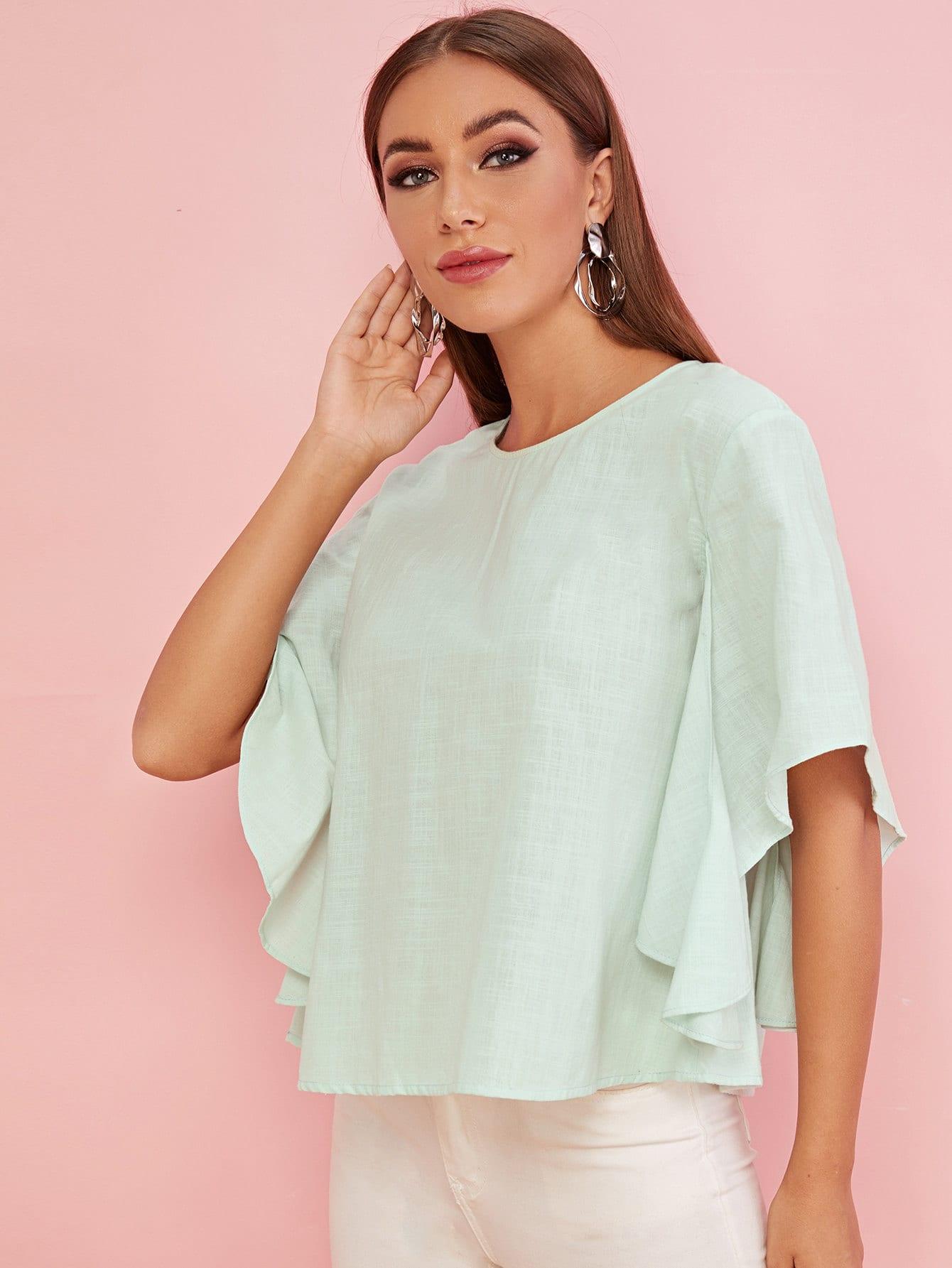 Фото - Однотонная блуза с разрезным рукавом от SheIn зеленого цвета