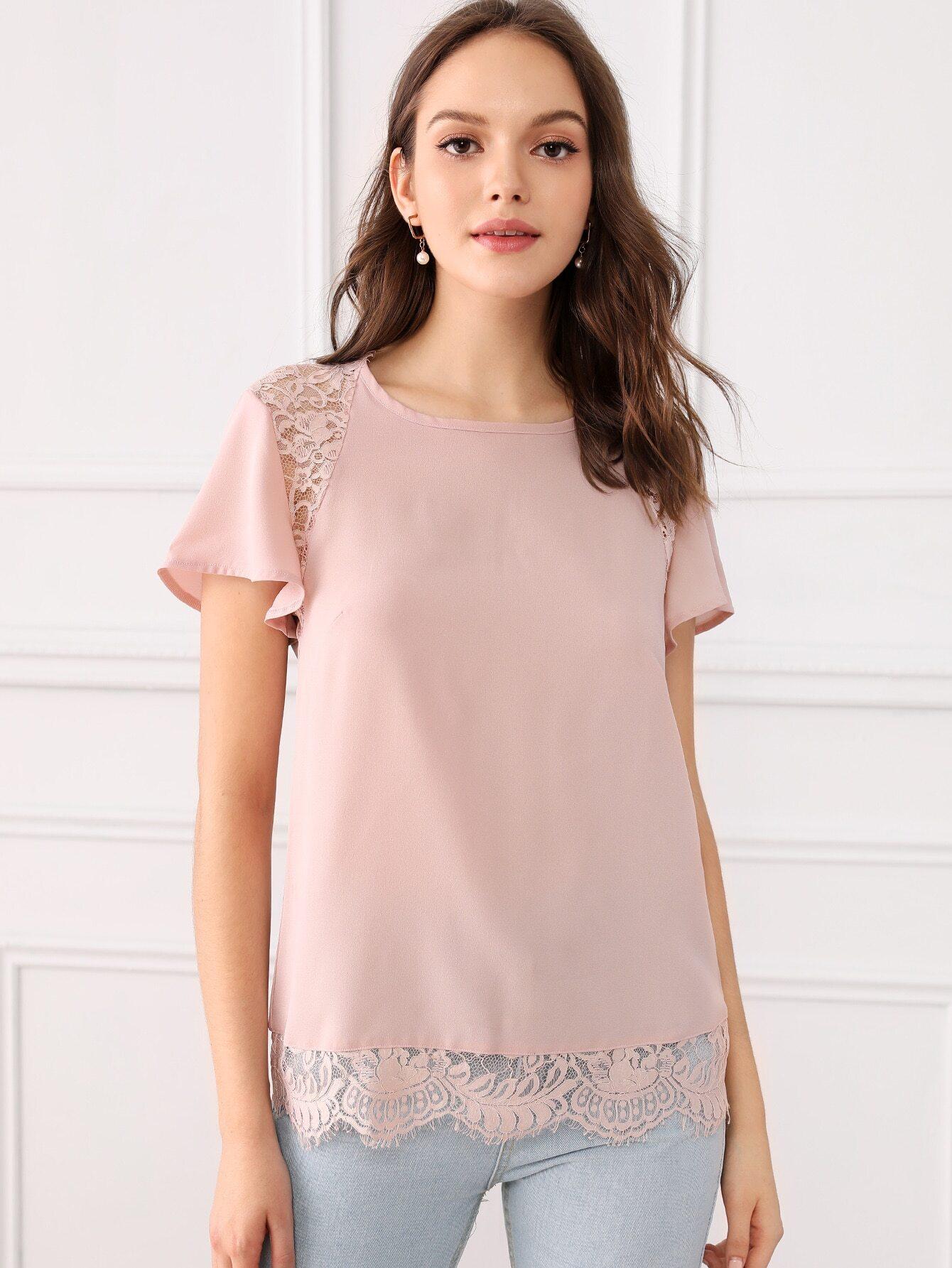 Фото - Блузу с кружевом и узлом сзади от SheIn розового цвета