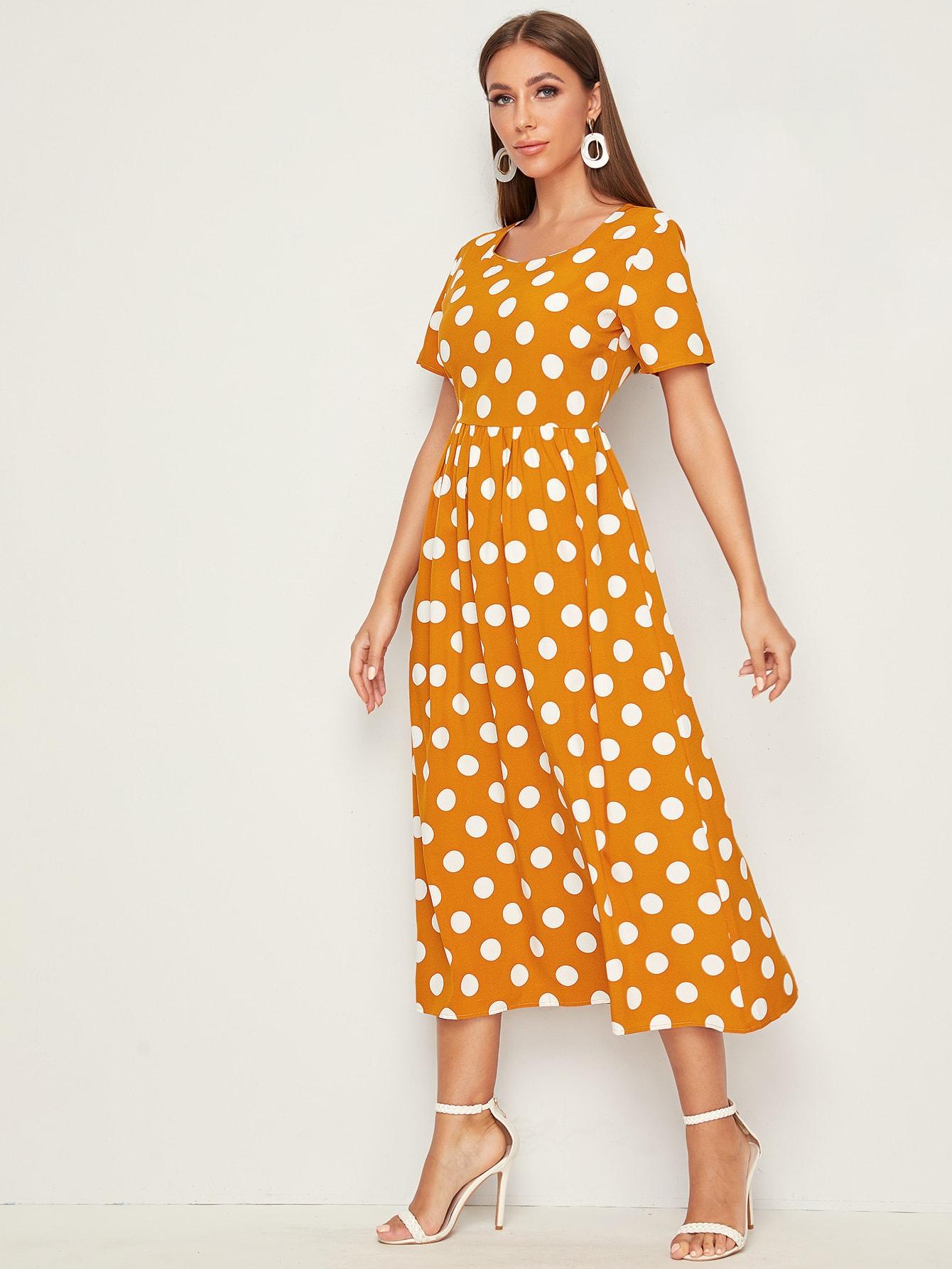 Фото - Платье в горошек с молнией сзади от SheIn цвет жёлтые