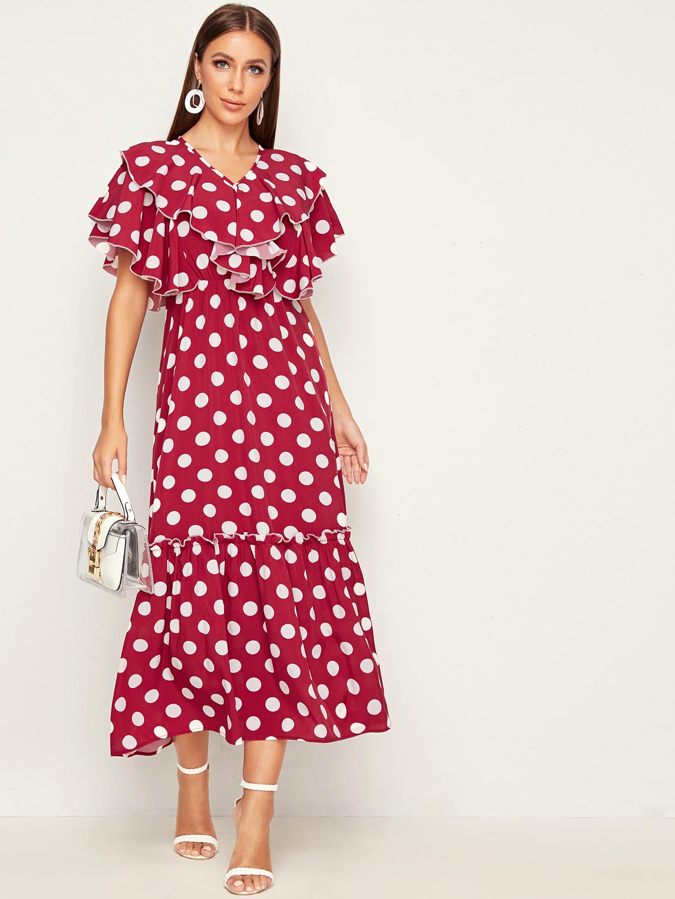 Фото - Платье в горошек с многослойными оборками от SheIn цвет красные