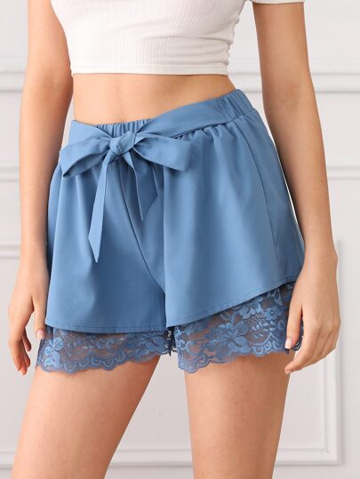 SheIn / Lace Trim Knot Front Shorts