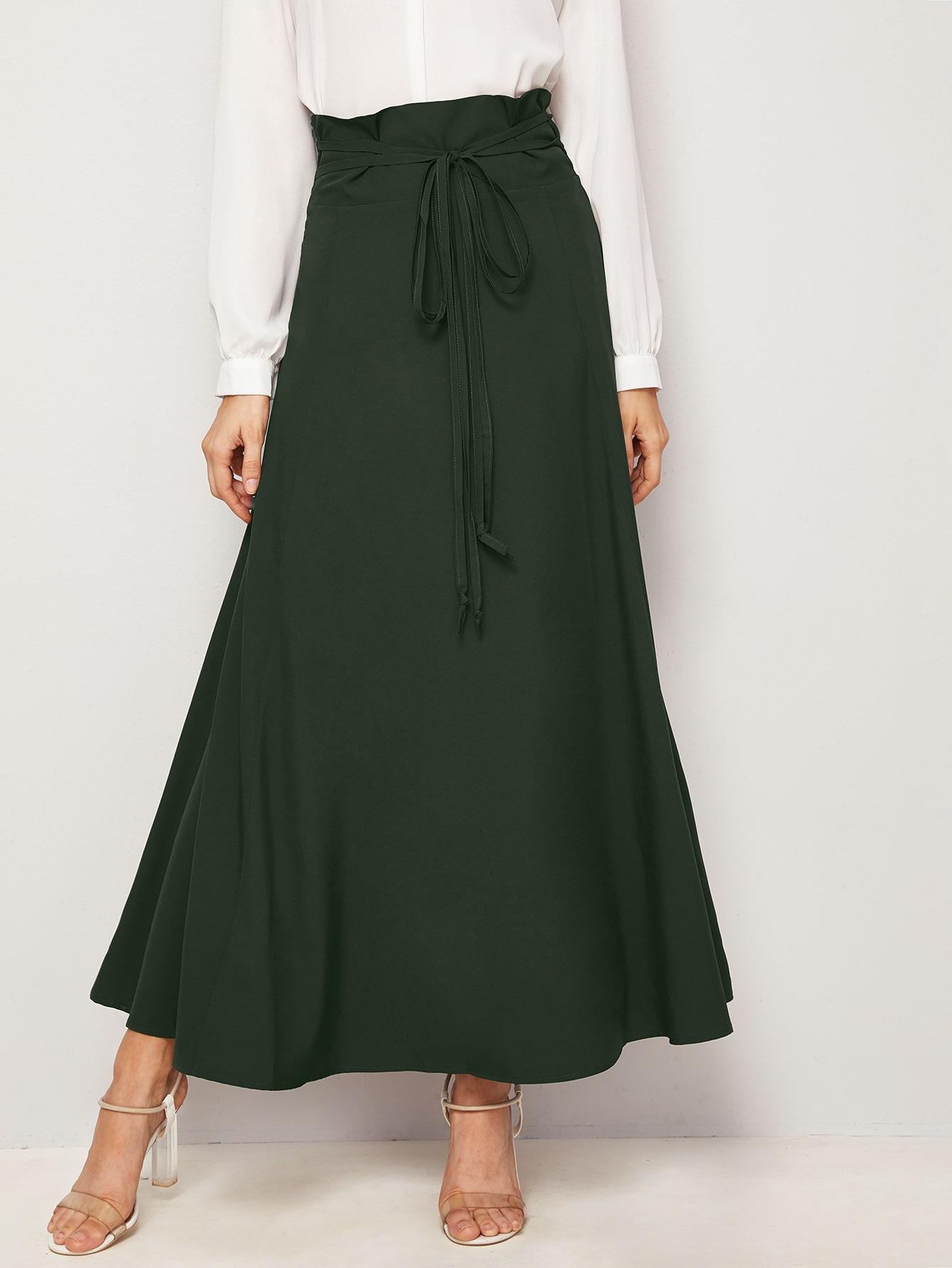 Фото - Однотонная юбка с узлом от SheIn цвет цветахаки