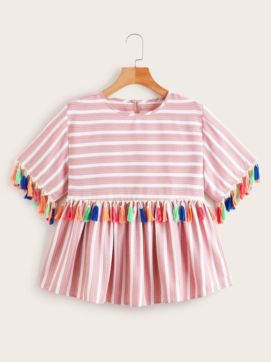 Фото - Блузу в полоску размера плюс с бахромой от SheIn цвет розовые