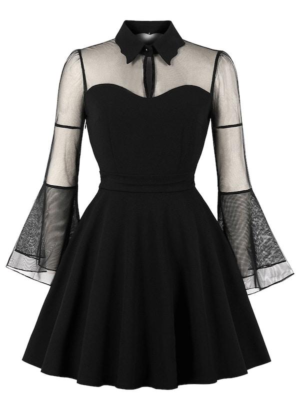 Фото - Платье размера плюс с сетчатым рукавом от SheIn цвет чёрные