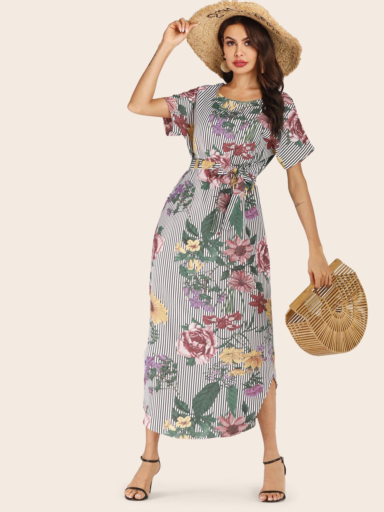 Фото - Полосатое платье с цветочным принтом от SheIn цвет многоцветный