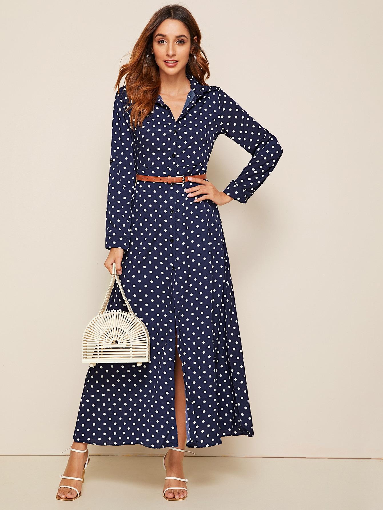 Фото - Платье в горошек с поясом от SheIn цвет тёмно-синие