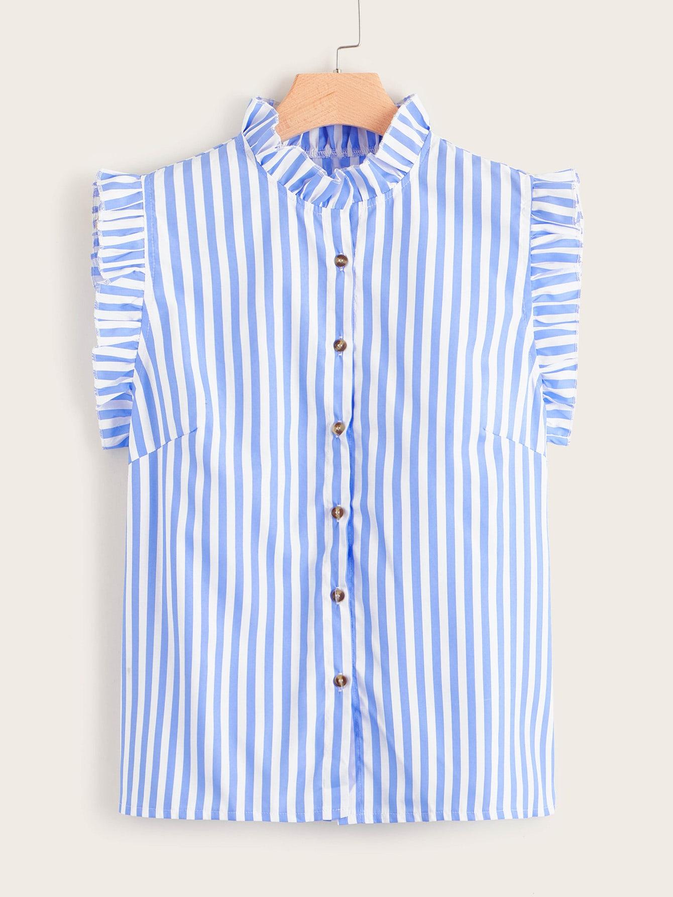 Фото - Блузу в полоску размера плюс с пуговицами от SheIn цвет синие
