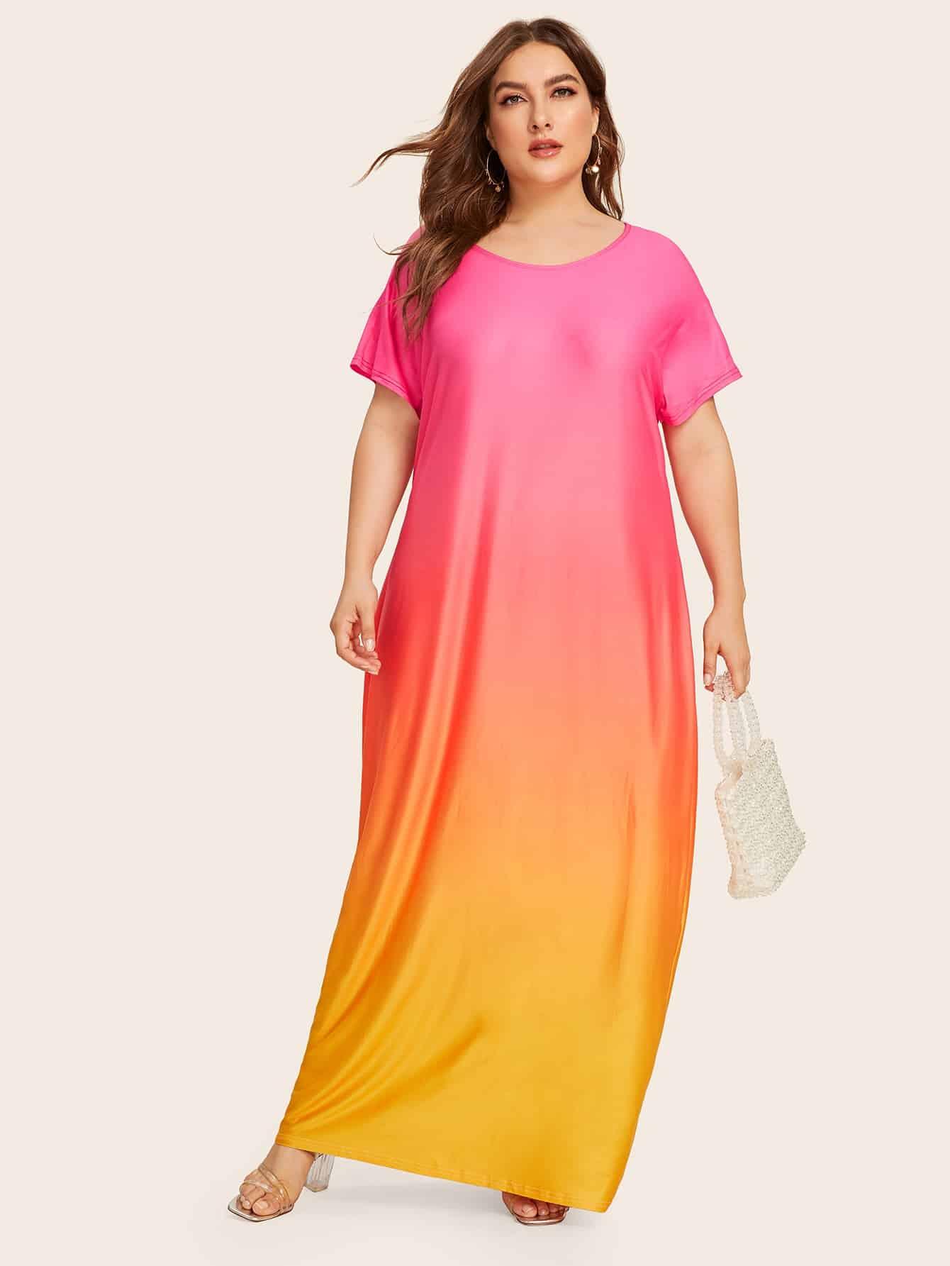 Фото - Длинное платье-футболка размера плюс от SheIn цвет цвет хамелеон