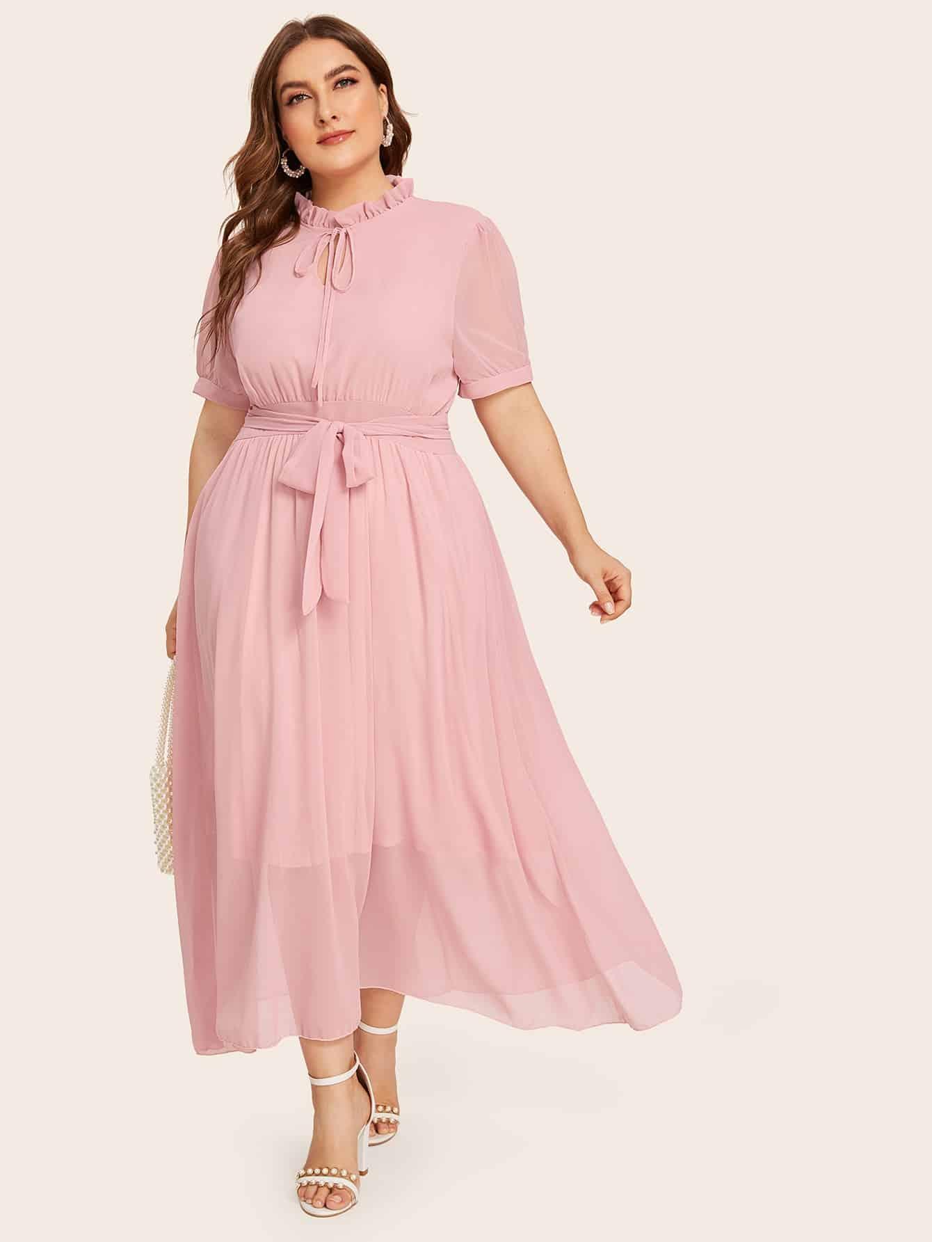 Фото - Платье размера плюс с воротником-бантом и поясом от SheIn цвет розовые