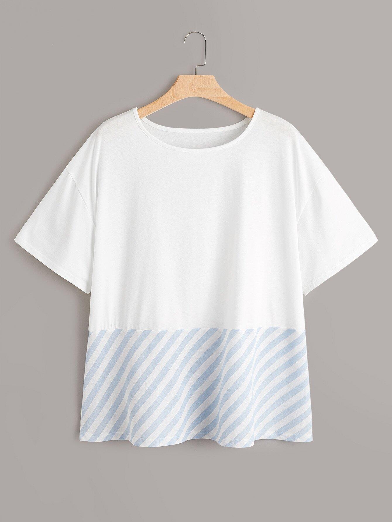 Фото - Контрастная футболка в полоску размера плюс от SheIn цвет многихцветные