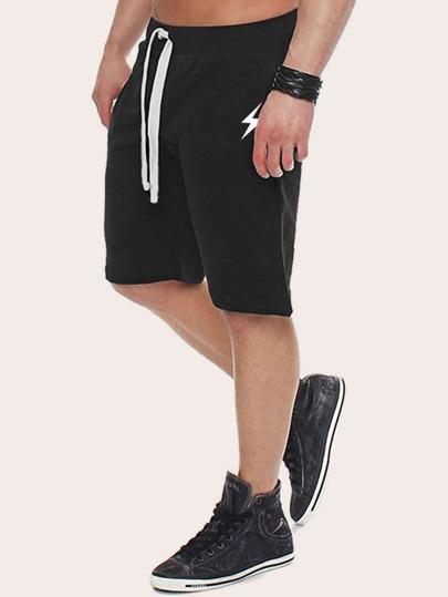 SheIn / Men Lightning Print Drawstring Waist Shorts