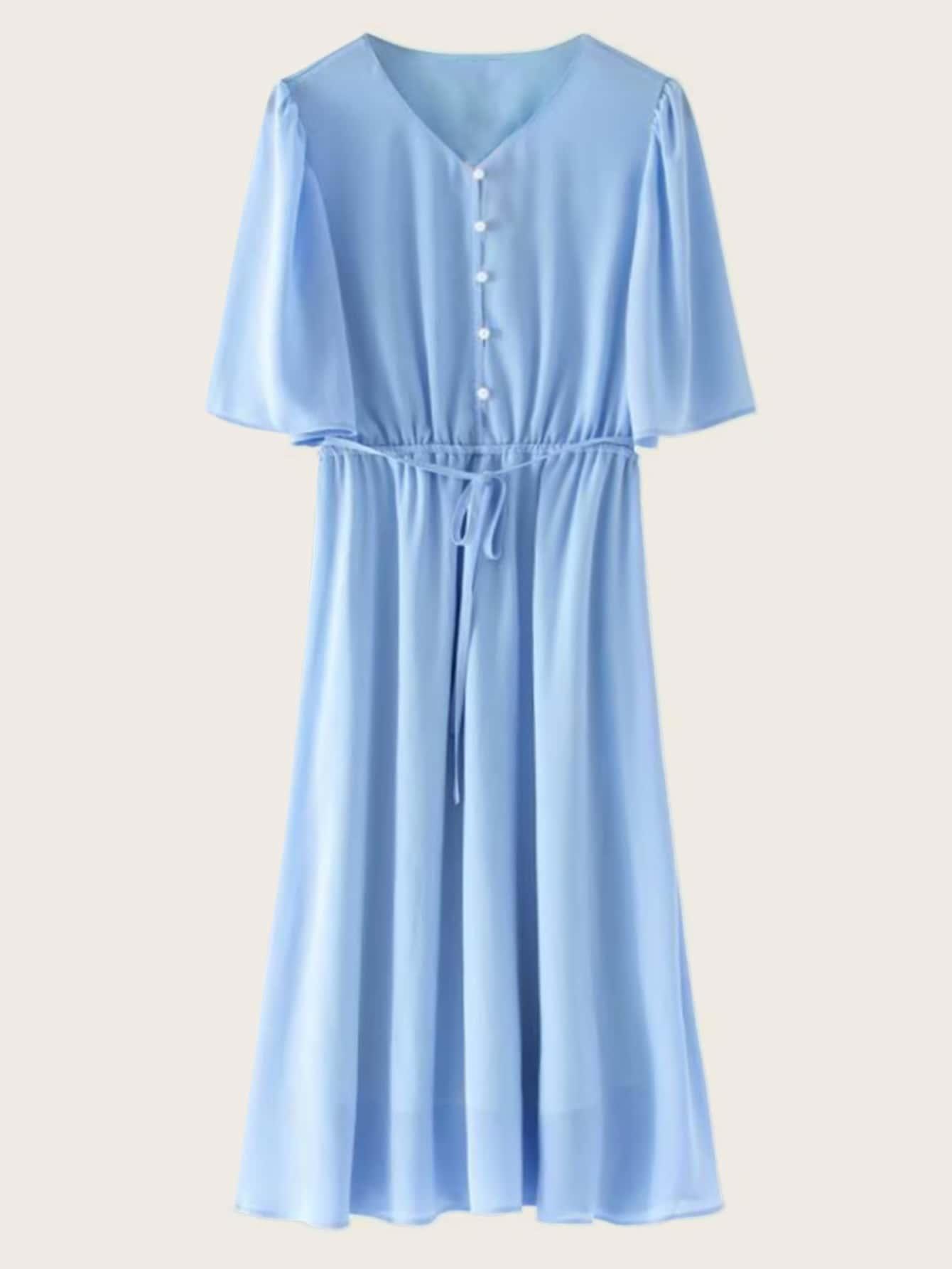 Фото - Однотонное платье с эластичной талией от SheIn цвет синие