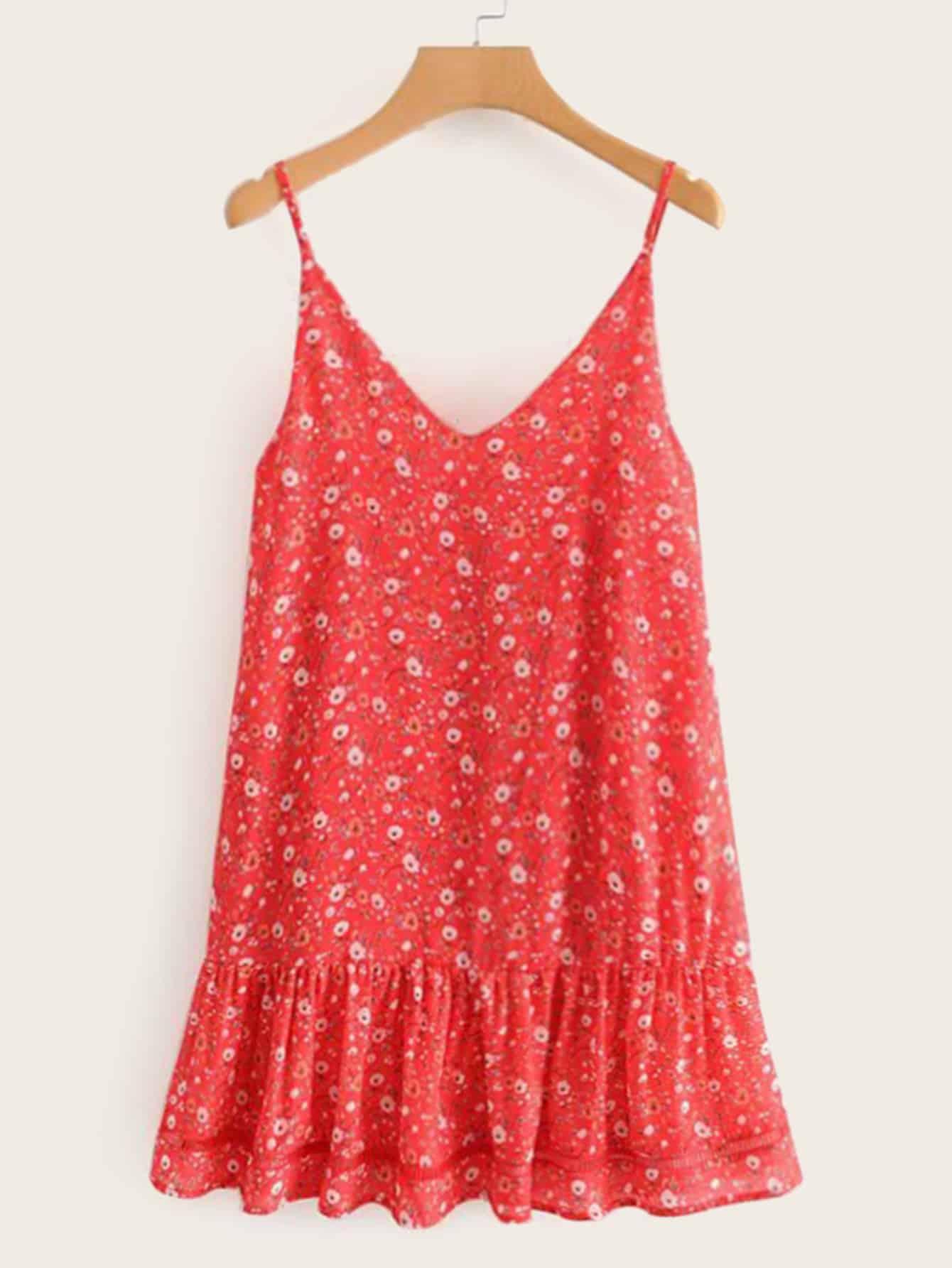 Фото - Цветочное платье на бретелях с оборками от SheIn цвет красные