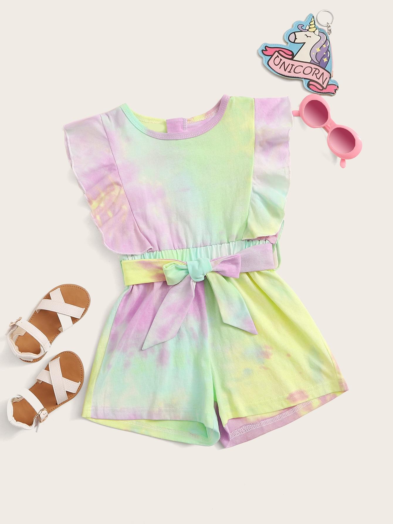 Фото - Разноцветный комбинезон с поясом и оборкой для девочек от SheIn цвет многоцветный