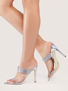 Transparent Band Rhinestone Detail Stiletto Mules