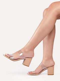 Double Clear PVC Band Low Block Heel Sandals