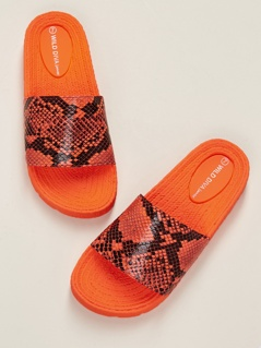 Neon Snakeskin Foam Sole Slide Sandals