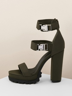 Buckled Ankle Strap Platform Lug Sole Chunky Heels