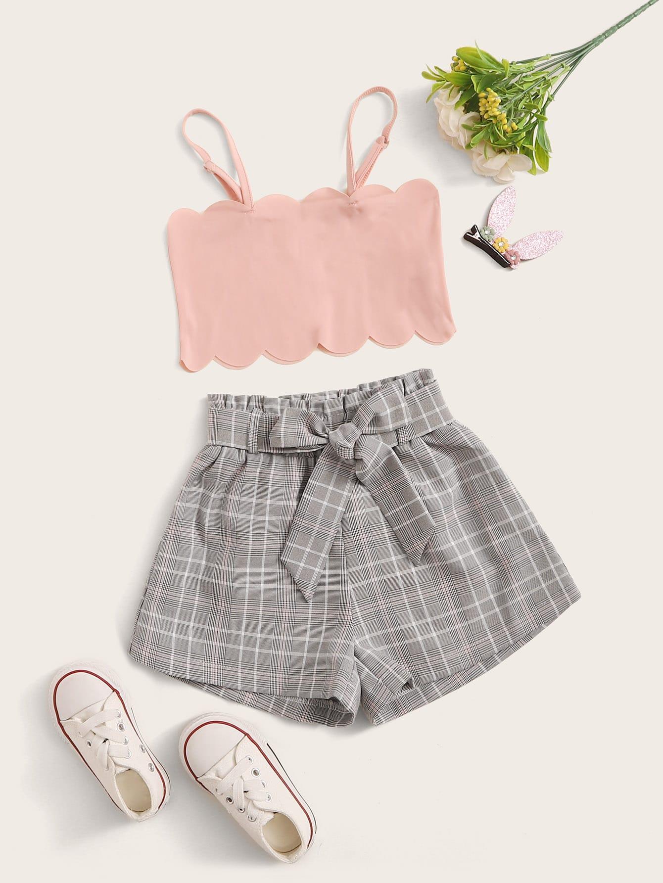 Фото - Топ на бретелях и шорты с поясом для девочек от SheIn цвет многоцветный