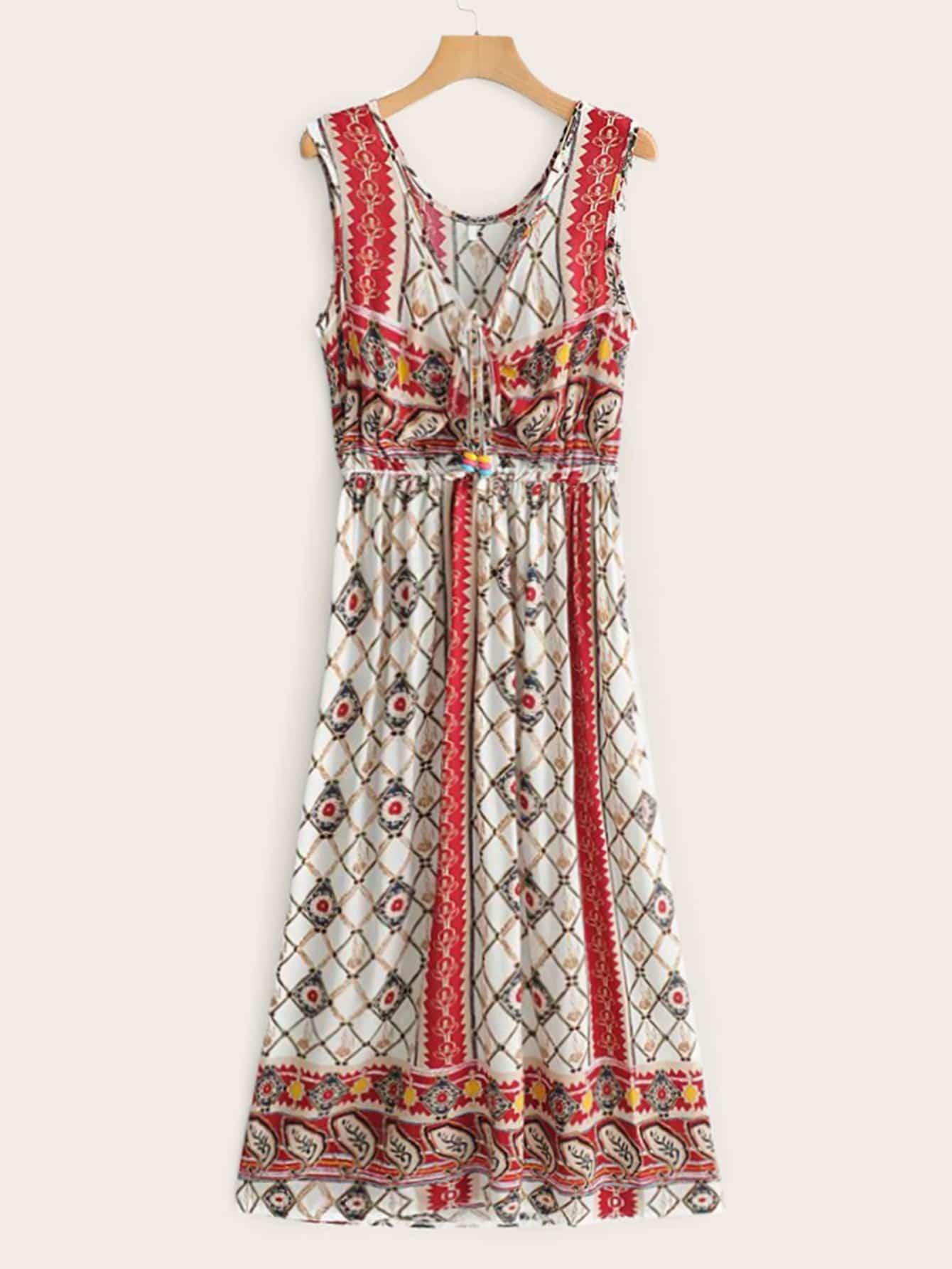 Фото - Платье с узлом, графическим принтом и V-образным вырезом от SheIn цвет многоцветный