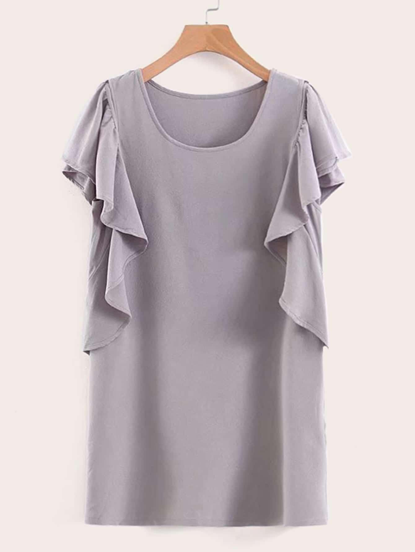 Фото - Однотонное платье с оригинальным рукавом от SheIn цвет серые