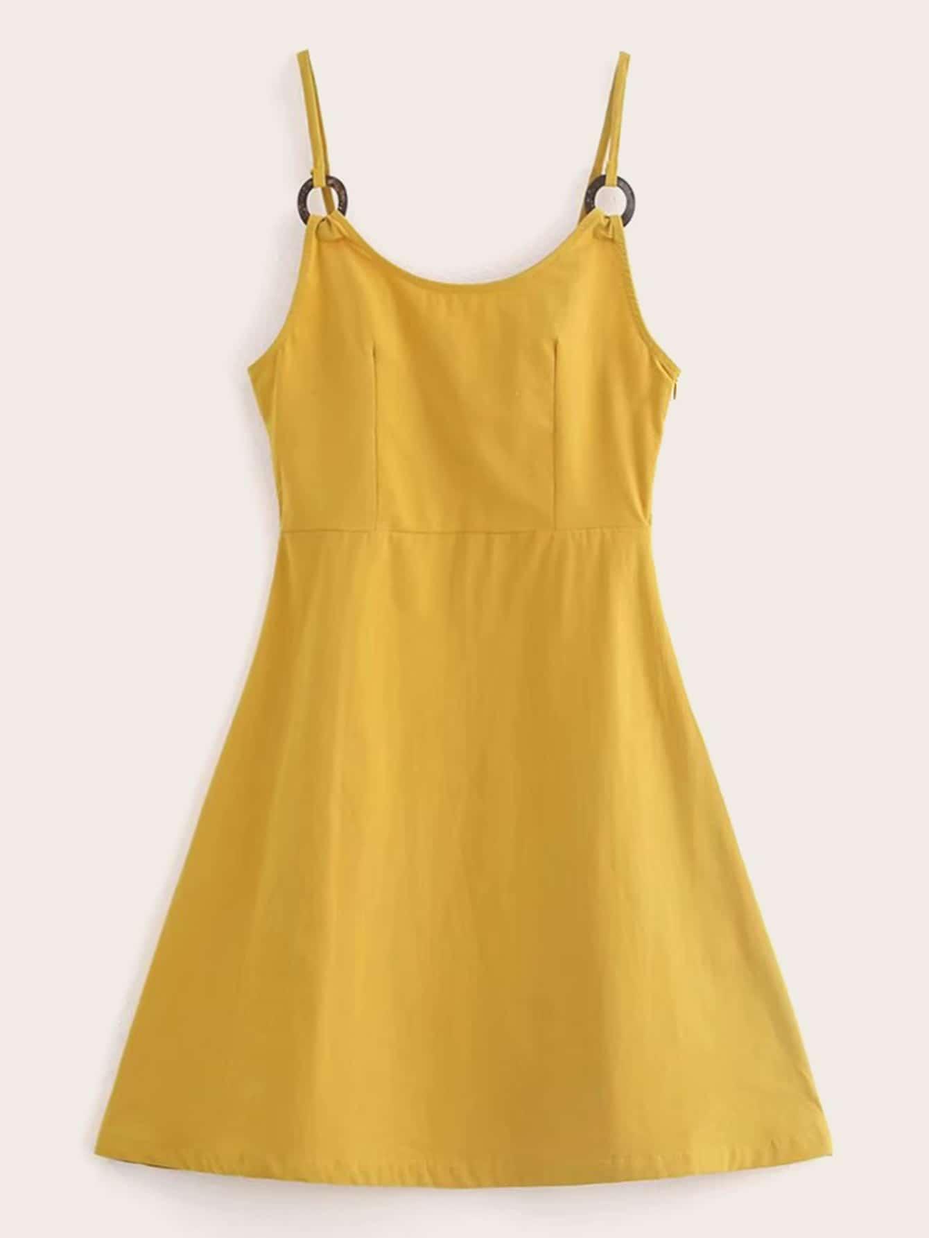 Фото - Однотонное расклешенное платье от SheIn цвет жёлтые