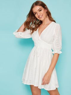 Covered Button Ruffle Cuff Schiffy Dress