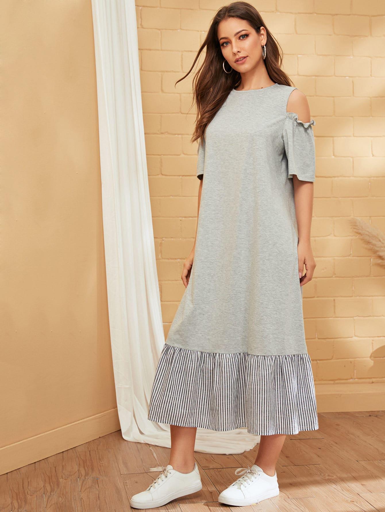 Фото 11 - Атласная пижама в горошек для девочек от SheIn цвет тёмно-синие