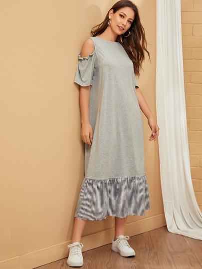 Фото 14 - Атласная пижама в горошек для девочек от SheIn цвет тёмно-синие