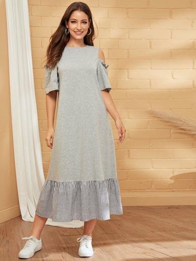 Фото 13 - Атласная пижама в горошек для девочек от SheIn цвет тёмно-синие