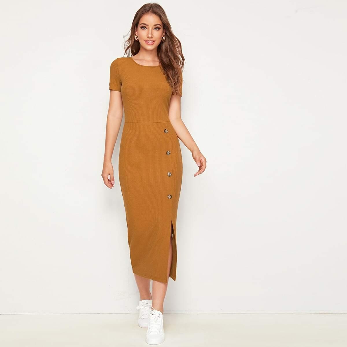 Однотонное Трикотажное Облегающее Платье Миди С Разрезом