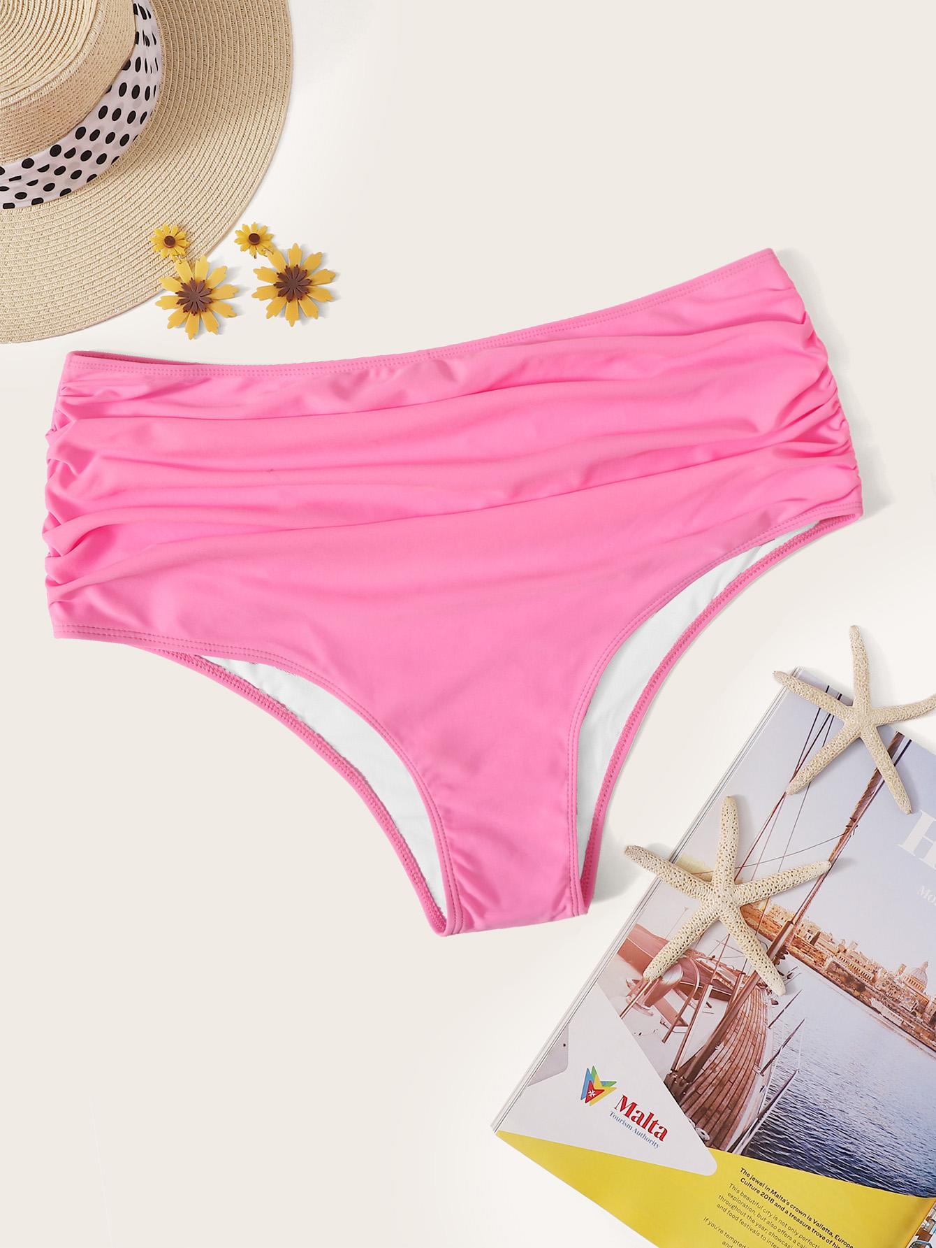 Фото - Трусики для плавания размера плюс с высокой талией от SheIn цвет розовые