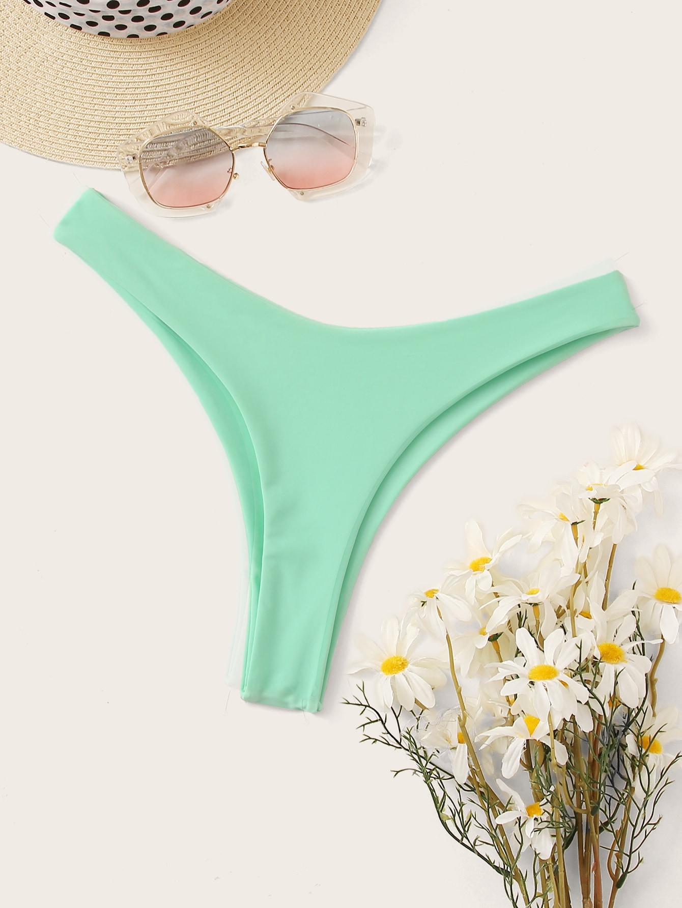 Фото - Трусики для плавания с высоким вырезом от SheIn синего цвета