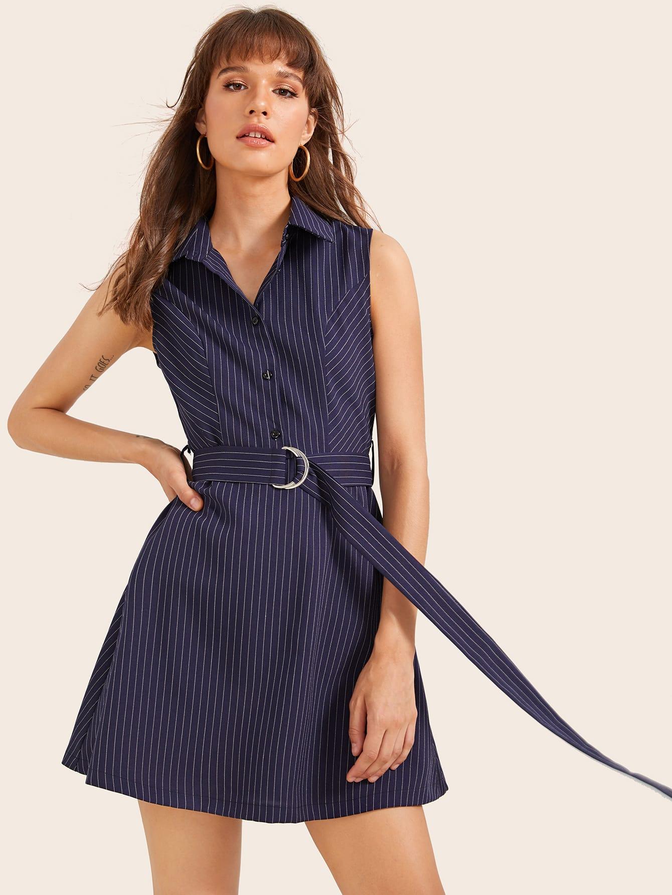 Фото - Платье в полоску с пуговицами и поясом от SheIn цвет тёмно-синие