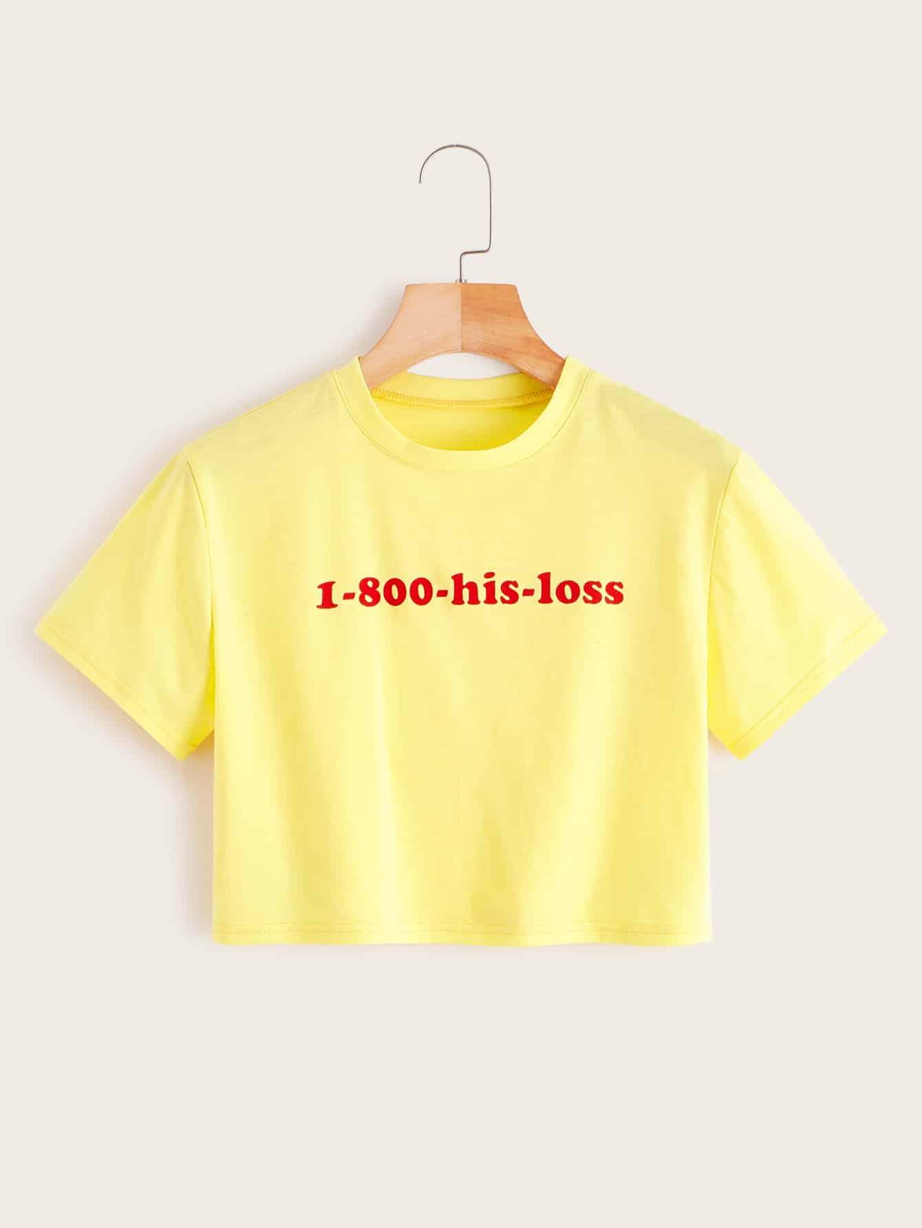 Фото - Короткая футболка с текстовым принтом от SheIn цвет жёлтый