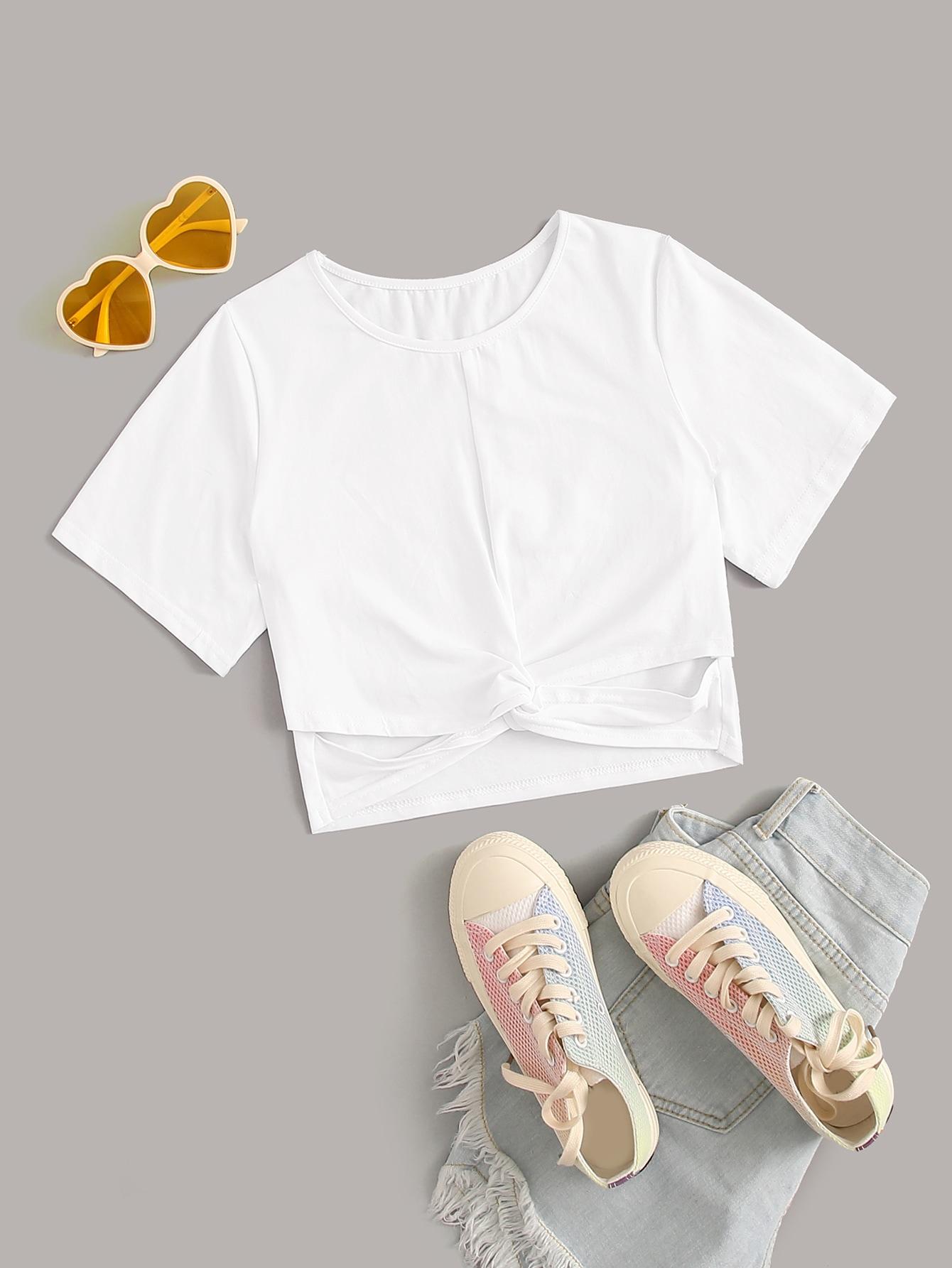 Фото - Однотонная футболка с драпировкой от SheIn белого цвета