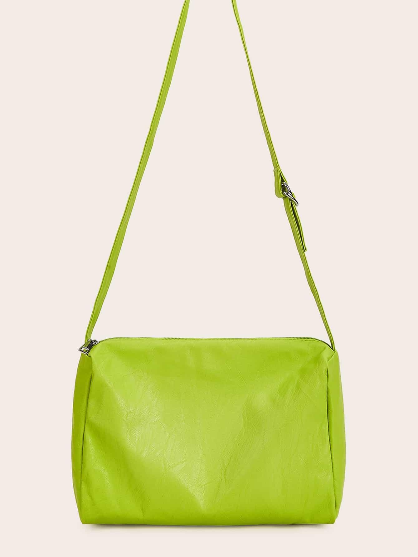 Фото - Неоновая минималистская сумка через плечо от SheIn цвет зелёный