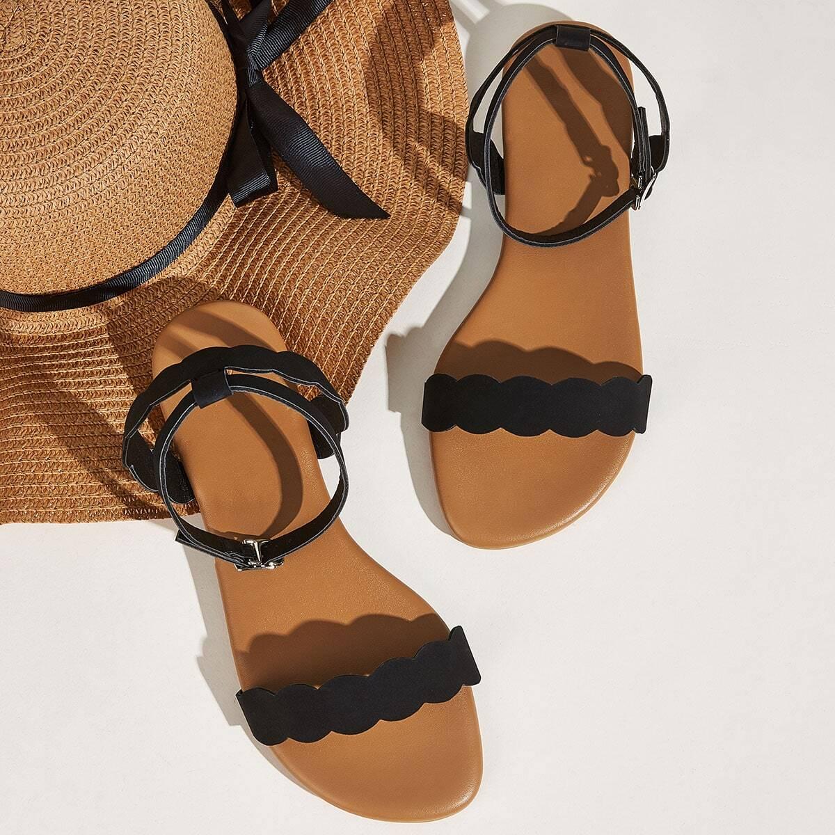 Zwart Comfortabel Sandalen Schulp