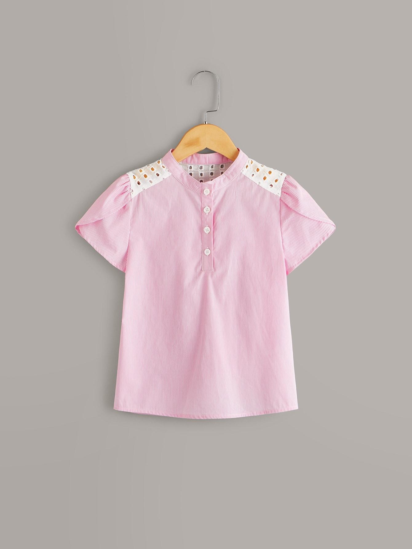Фото - Топ с оригинальным рукавом для девочек от SheIn розового цвета