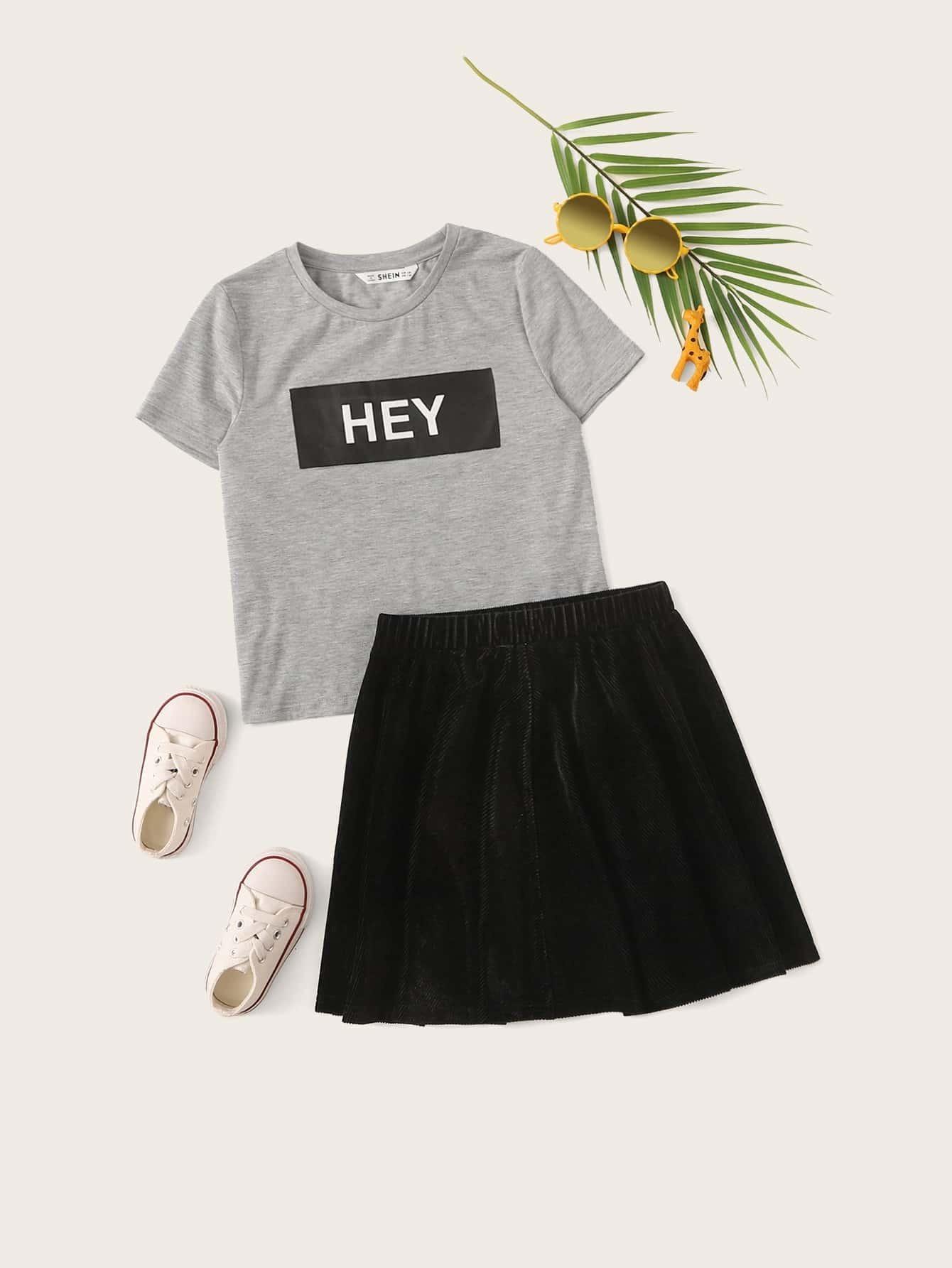 Фото - Юбку и топ с текстовым узором для девочек от SheIn цвет многоцветный