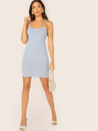 SheIn / Rib-knit Bodycon Slip Dress