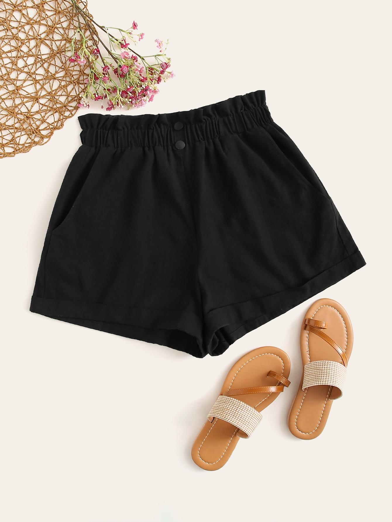 Фото - Шорты с присборенной талией и карманом от SheIn черного цвета