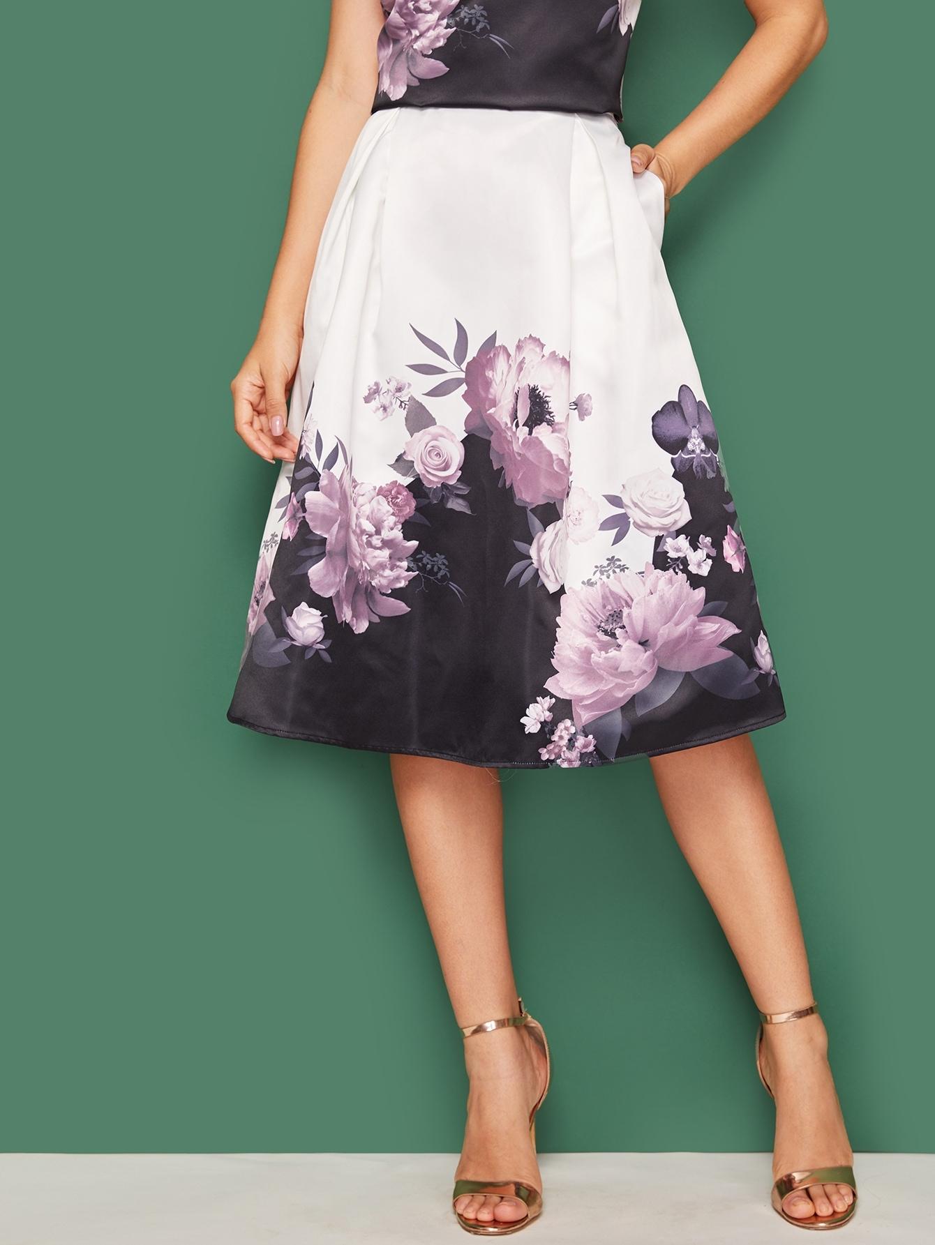 Фото - Плиссированная юбка с цветочным принтом от SheIn цвет многоцветный