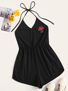 Flower Embroidered Backless Dolphin Hem Halter Romper