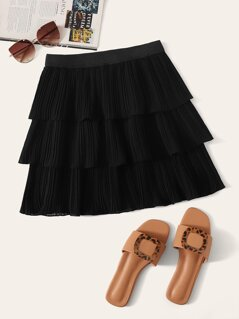Elastic Waist Layered Pleated Skirt