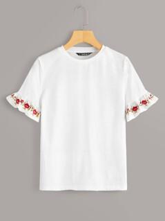 Embroidery Ruffle Cuff Top