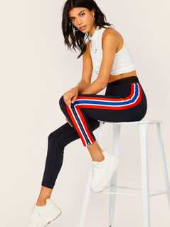 Mesh Waistband Side Stripe Stretch Leggings