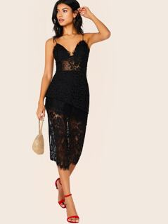 Tiered Layered Lace Sleeveless Midi Dress